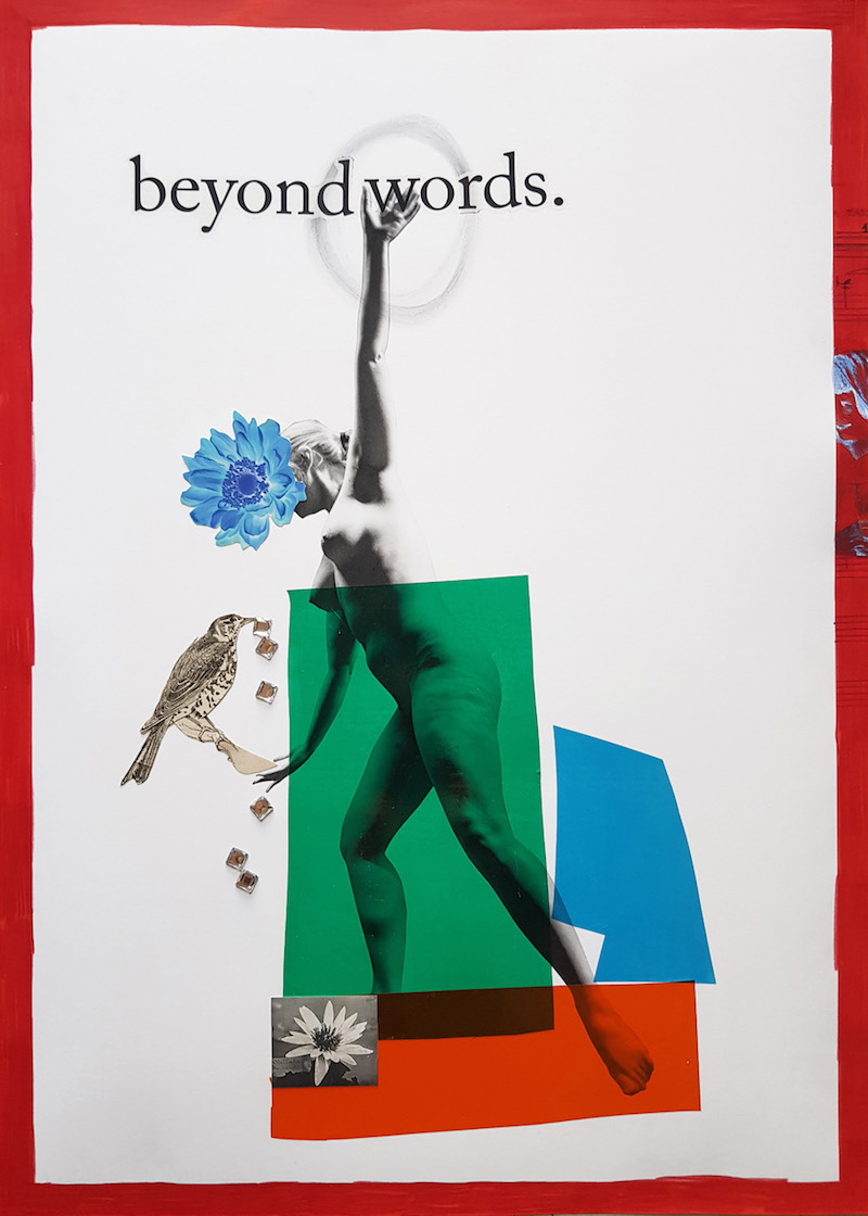 """an illustrated painting of an abstract figure and a bird, adorned with the text: """"beyond words"""""""