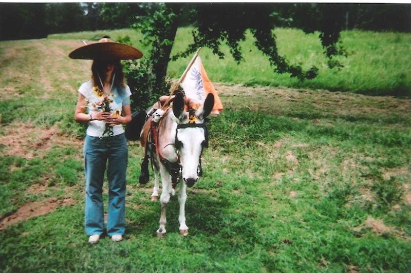 a person in a large sombrero stands next to a white donkey in a green field, as the two are about to get married in a wedding ceremony