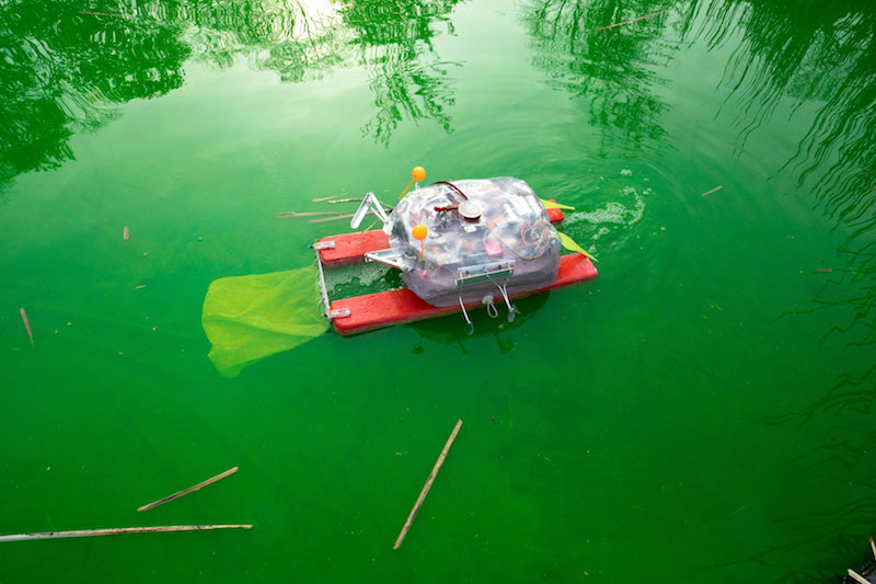a bright green pond with a robotic crab floating in it