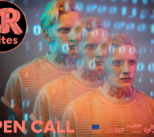 three superimposed images of a blond person with numbers projected over their face and the words Open Call XR Unites