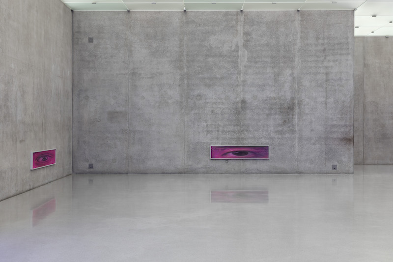 A purple colored photograph with an eye looking at the viewer mounted on a concrete wall of the exhibition space at Kunsthaus Bregenz