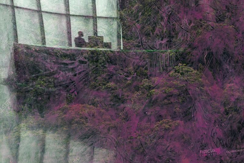 A person looking at a computer behind a desk on the ground floor of Kunsthaus Bregenz mirrored in a photograph showing a purple colored rain forest