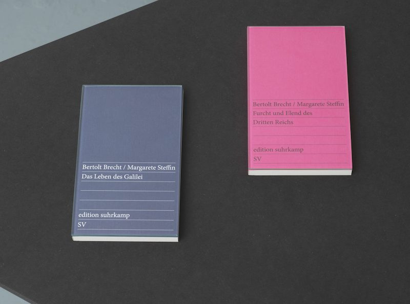a close up of two Surhkamp books on a black table, with the name Margarete Steffin added after Bertolt Brecht's