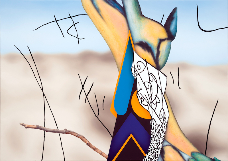 Abstract painting showing forms in blue and yellow, a blurry background and tree branch