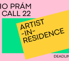 A poster with geometric background in pink, yellow, and green and with text on the open call in black font.