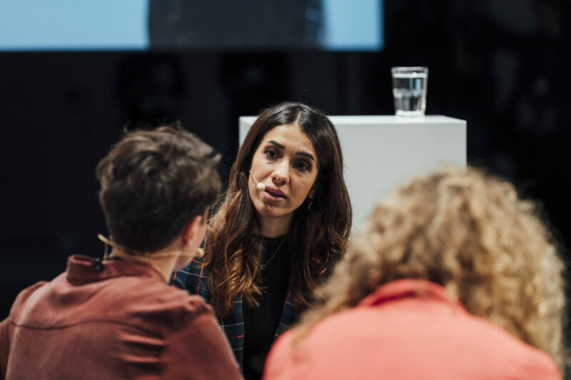 Nadia Murad, Nobel Peace Prize Laureate, pictured speaking at the conference 'Berlin questions'