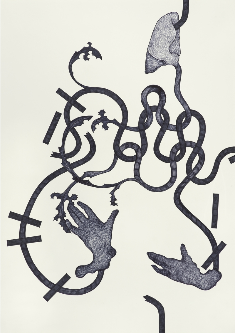 A painting with beige background and squiggly grey lines on top forming an abstract composition with shapes at the end of the lines that look like hands