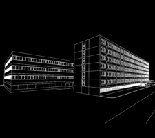 White line illustration of two block buildings on a black background