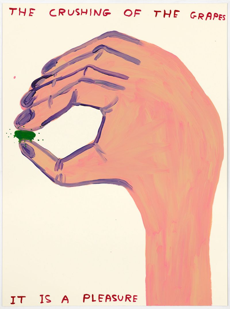 a drawing of a hand with a small green grape between the thumb and forefinger and text reading: the crushing of the grape, it is a pleasure