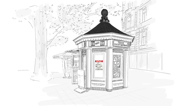 a black and white drawing of a news stand with trees and buildings behind it and a sign in the window that readers: NEWS it won't be like this forever