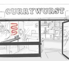 a black and white line drawing of a currywurst shop, with only a red sausage like shape in color